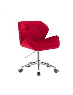 Czerwone krzesło kosmetyczne na kółkach PETYR - kółka chromowane