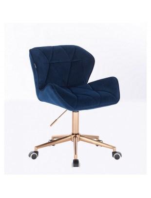 Skandynawskie krzesło na złotych kółkach PETYR ciemne morze welur