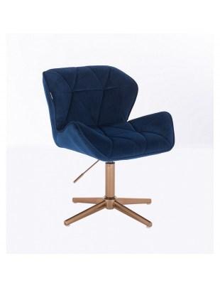 Krzesło kosmetyczne na złotych kółkach PETYR ciemne morze welur
