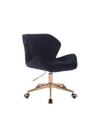 Krzesło kosmetyczne na złotych kółkach PETYR czarny welur