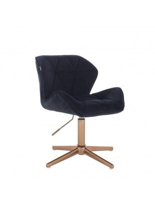 Krzesło kosmetyczne na złotym krzyżaku PETYR czarny welur