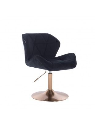 Czarne krzesło kosmetyczne PETYR welurowe złota podstawa dysk