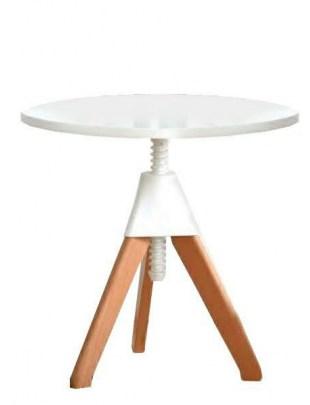 Stolik kawowy JERRY biały - polipropylen, MDF, drewno bukowe