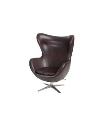 Fotel Jajo szeroki skóra ekologiczna 525 brązowy ciemny