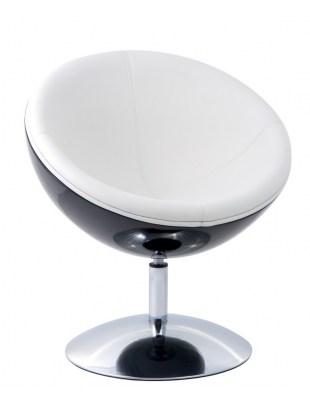 Fotel Mercury K-czarny, S-białe
