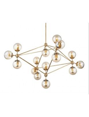 Lampa wisząca PLANETARIO 15 GOLD złota - klosze szronione