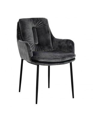 Krzesło GRANT ciemny szary II GATUNEK - welur, podstawa czarno-złota