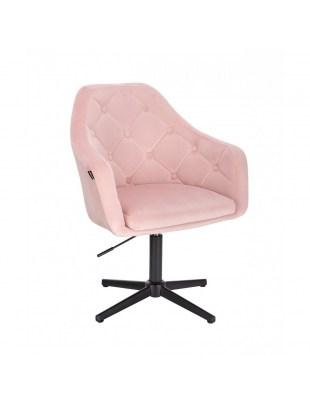 BLERM - Krzesło kosmetyczne pudrowy róż - krzyżak czarny