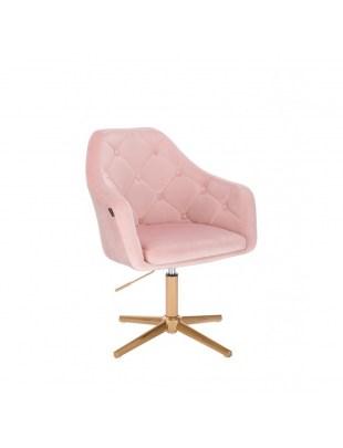 Krzesło tapicerowane BLERM welur pudrowy róż - złota podstawa krzyżak