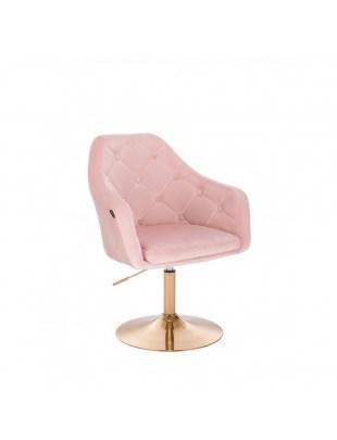 Krzesło tapicerowane BLERM welur pudrowy róż - złoty dysk
