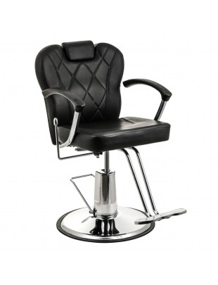 Fotel fryzjerski VASTO czarny z zagłówkiem