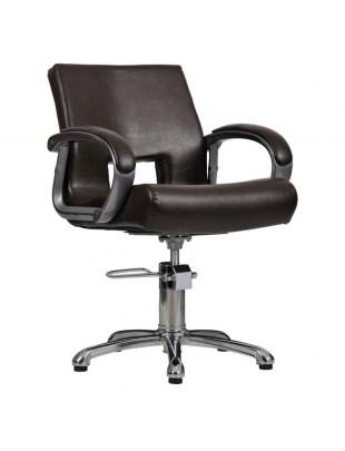 Fotel fryzjerski MILANO z wcięciem - brązowy