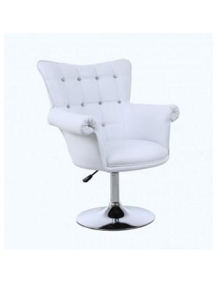 LORA CRISTAL XXL - Fotel fryzjerski biały