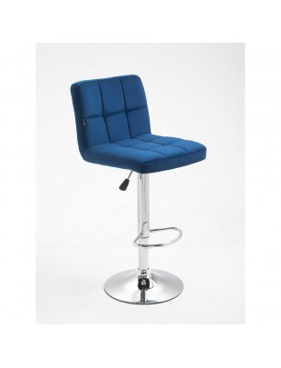 ATENA Wysokie krzesło kosmetyczne z podnóżkiem - ciemne morze
