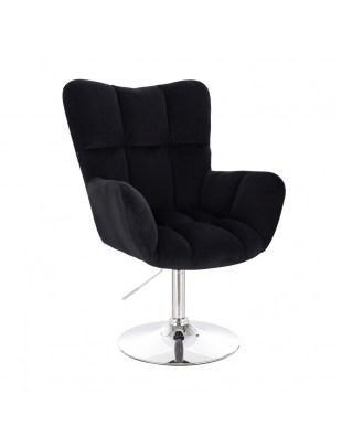 Krzesło kosmetyczne PEDRO czarne tapicerowane - dysk chromowany
