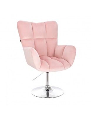 Krzesło kosmetyczne PEDRO pudrowy róż welur