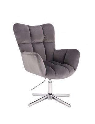 Fotel fryzjerski PEDRO tapicerowany - welur grafitowy