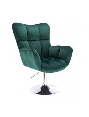 Fotel PEDRO butelkowa zieleń welur tapicerowany