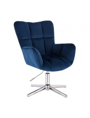 Krzesło tapicerowane PEDRO welur ciemne morze