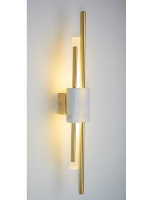 Kinkiet EVANS złoty - LED, marmur, szkło