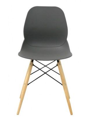 Krzesło LEAF DSW PREMIUM szare - polipropylen, podstawa bukowa