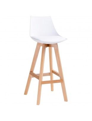 Hoker SLIM biały - polipropylen, ekoskóra, drewno
