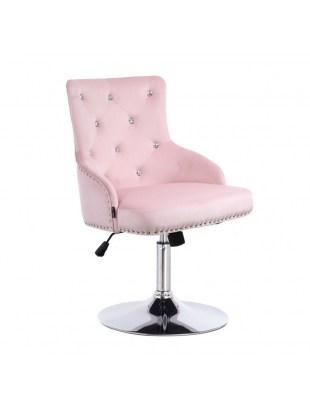 Claris Cristal - fotel kosmetyczny z kryształkami pudrowy róż welur