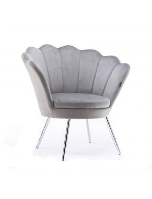Fotel muszelka ARIA stalowy welur