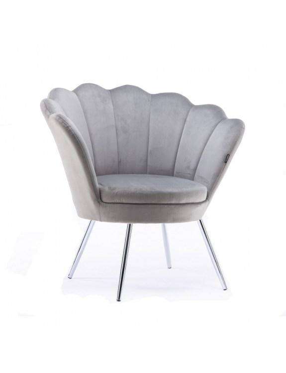Fotel muszelka ARIA stalowy welur - nogi chromowane