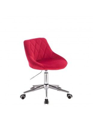 Czerwone krzesło kosmetyczne welurowe EMILIO geometryczny wzór