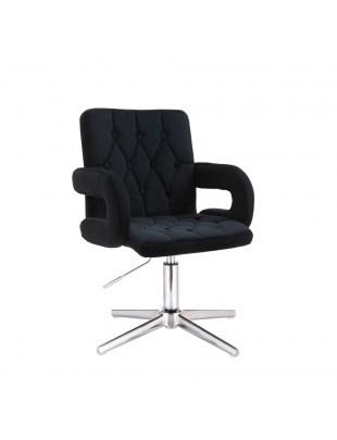 Czarne obrotowe krzesło kosmetyczne podłokietniki SURF BIS