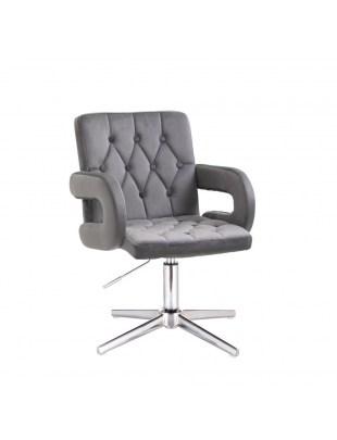 Szare krzesło kosmetyczne SURF BIS podłokietniki - grafitowy welur