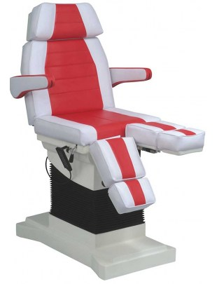 1444 - Fotel kosmetyczny pedicure elektryczny - biało-czerwony