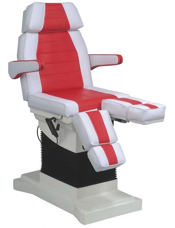 Fotel kosmetyczny 1444 elektryczny - biało-czerwony