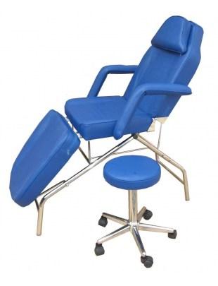 Fotel kosmetyczny z hokerem niebieski 1057
