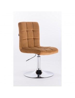 Camelia - krzesło kosmetyczne miodowe welur