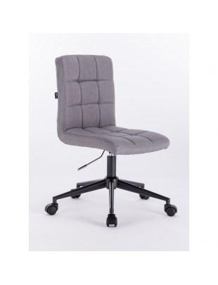Camelia - Krzesło kosmetyczne szare tkanina podstawa na kółkach