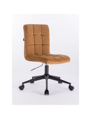 Camelia - Krzesło kosmetyczne miodowy welur podstawa na kółkach