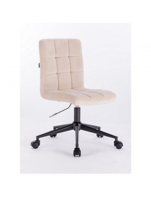 Camelia - Krzesło kosmetyczne kremowe welur podstawa na kółkach