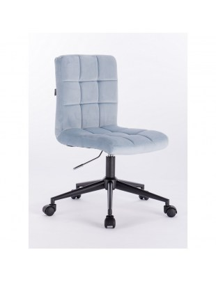 Camelia - Krzesło kosmetyczne błekitny welur podstawa na kółkach