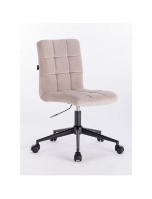 Camelia - Krzesło kosmetyczne beżowy welur podstawa na kółkach