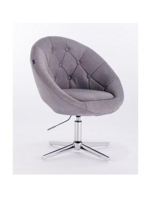 Blom - krzesło kosmetyczne szare tkanina podstawa krzyżak