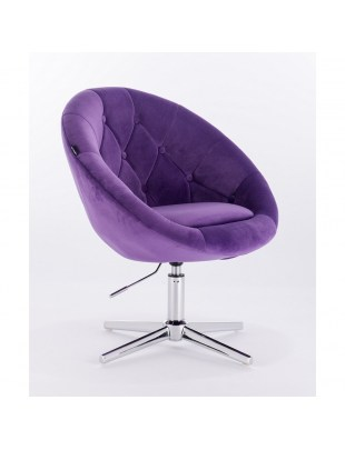 Blom - krzesło kosmetyczne fioletowy welur podstawa krzyżak
