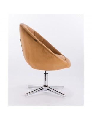 Blom - krzesło kosmetyczne miodowy welur podstawa krzyżak