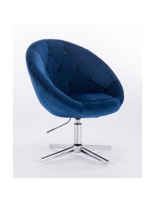 Blom - krzesło kosmetyczne niebieski welur podstawa krzyżak