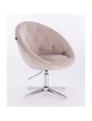 Blom - krzesło kosmetyczne beżowy welur podstawa krzyżak