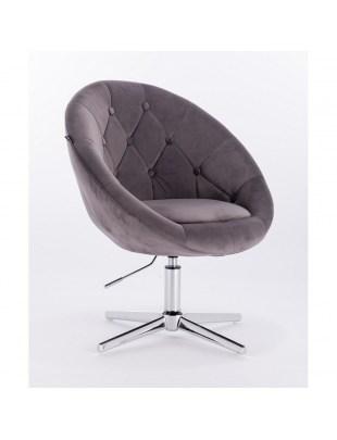 Blom - krzesło kosmetyczne szary welur podstawa krzyżak