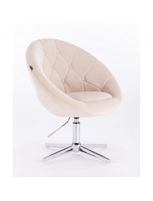 Blom - krzesło kosmetyczne kremowy welur podstawa krzyżak