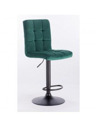 Nail bar - krzesło kosmetyczne z podnózkiem turkusowy welur