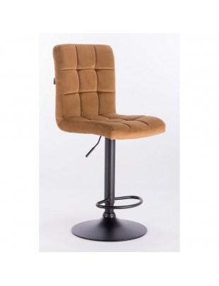 Camelia bar - krzesło kosmetyczne z podnóżkiem miodowy welur